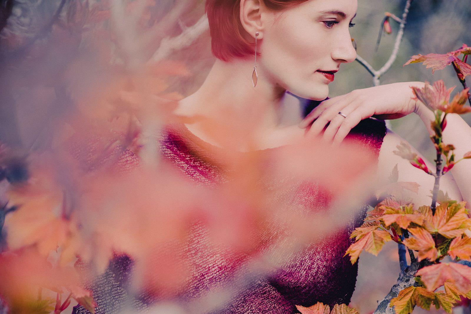 Outdoor Autumn boudoir portrait